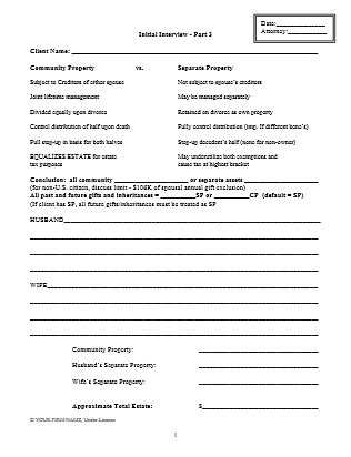 Living Trust: Client Intake Form For Drafting Plan