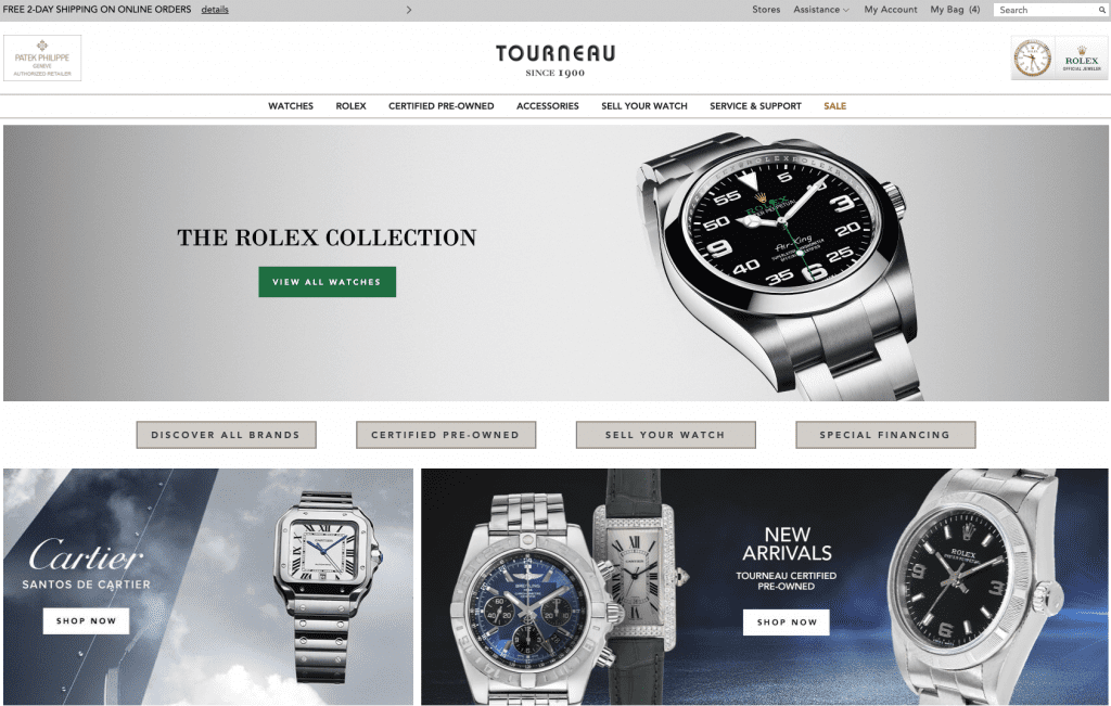 Home Page of Tourneau, Rolex Retail