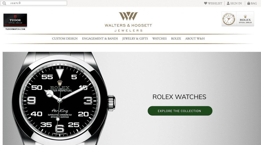 Rolex Retail, Home Page