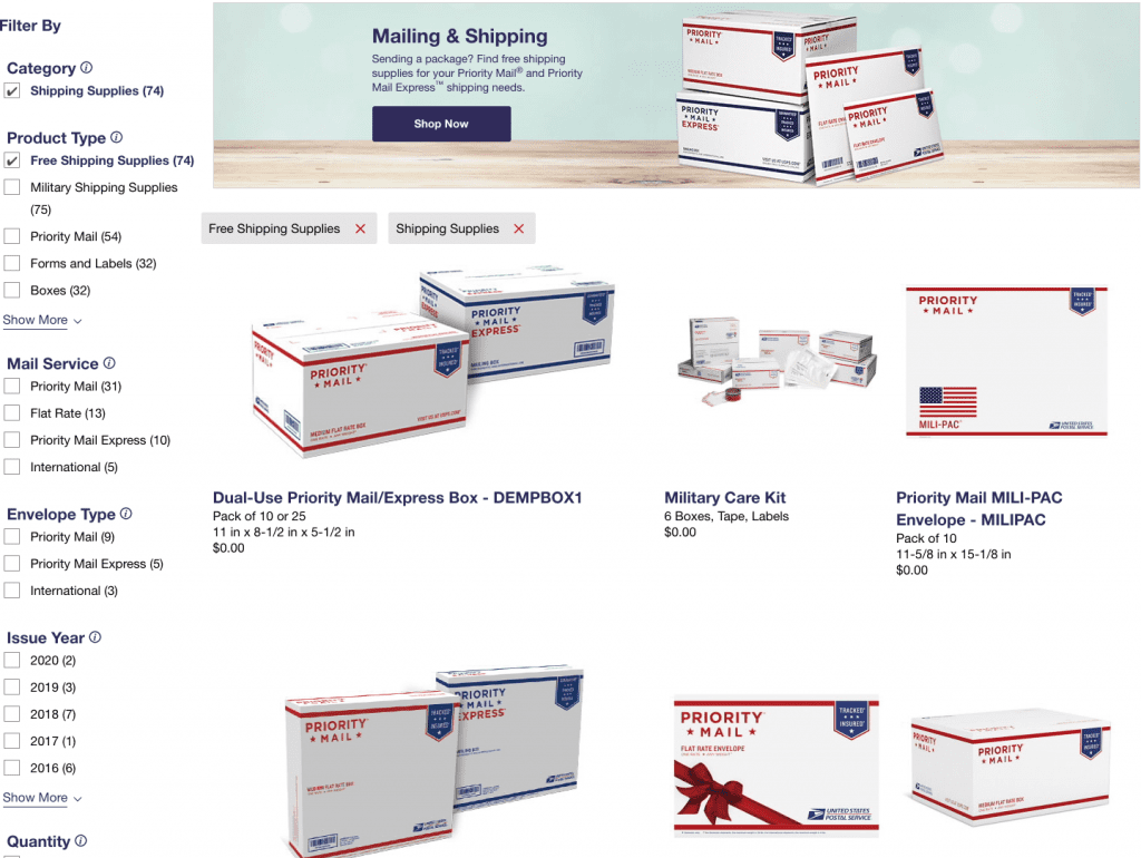 free shipping boxes, usps, different size boxes