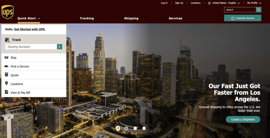 UPS, UPS home page, website