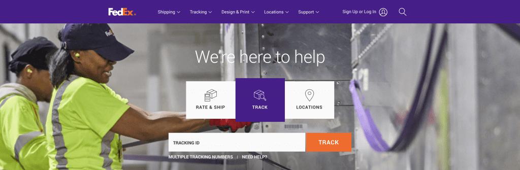 FedEx, home page, online