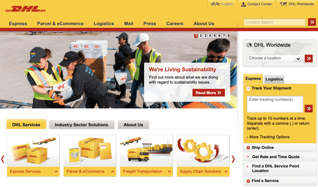DHL, dhl home page