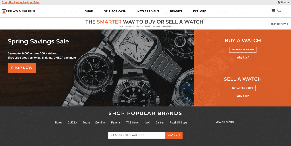 home page crown and calibre, the best sites to sell or buy watches