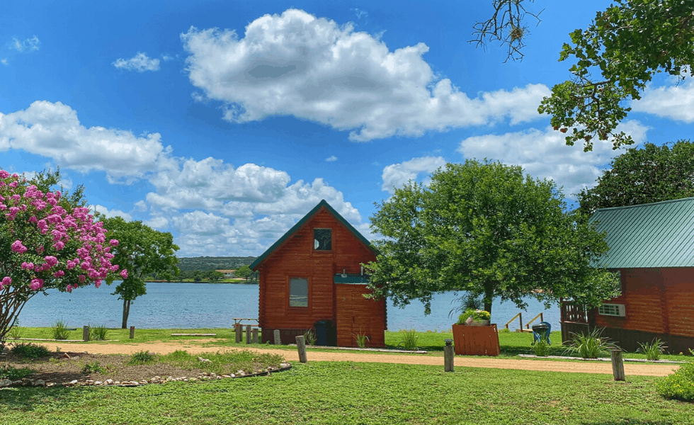 Image of one of our Texas lake cabins at Willow Point. Each texas hill country cabin has an unobstructed view of Lake Buchanan.