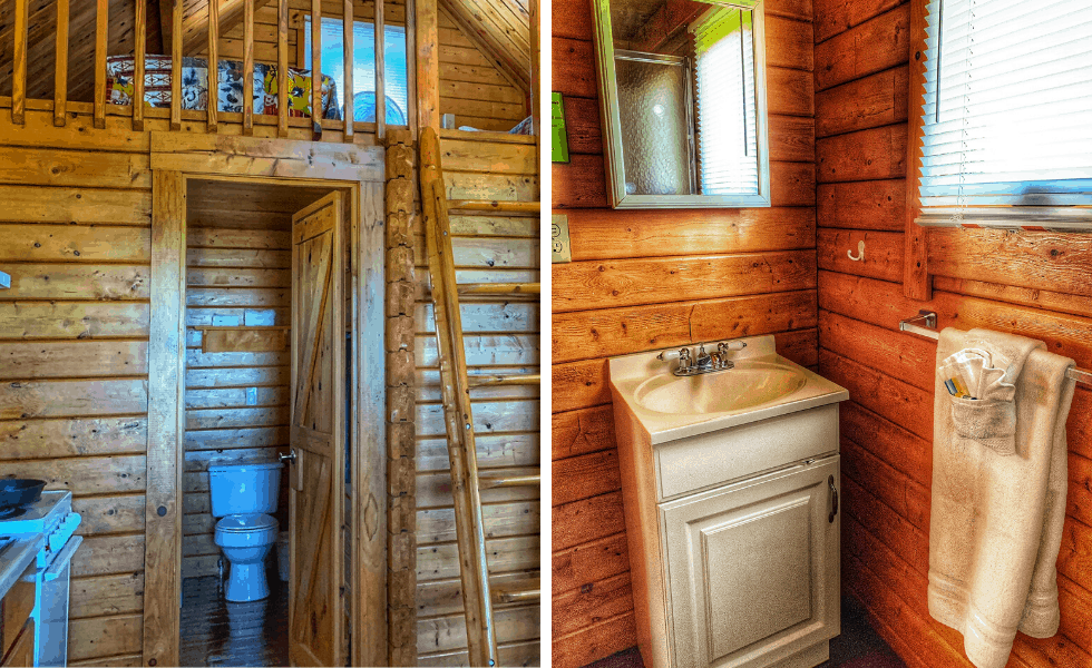 Image of the 3/4 bathroom that's included with your Texas Hill Country cabin rental at Willow Point Resort.