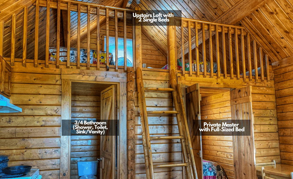 Image of our Texas lake cabins interior. Each identical lake cabin includes an open loft, private master bedroom, and 3/4 bathroom.