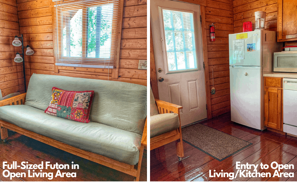 Image of the full-sized futon and front entry to your log cabin rental at our Texas lake resort.
