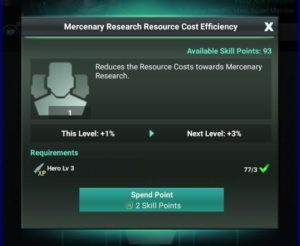 Mercenary Research Resource Cost Efficiency