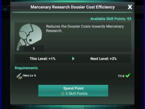 Mercenary Research Dossier Efficiency