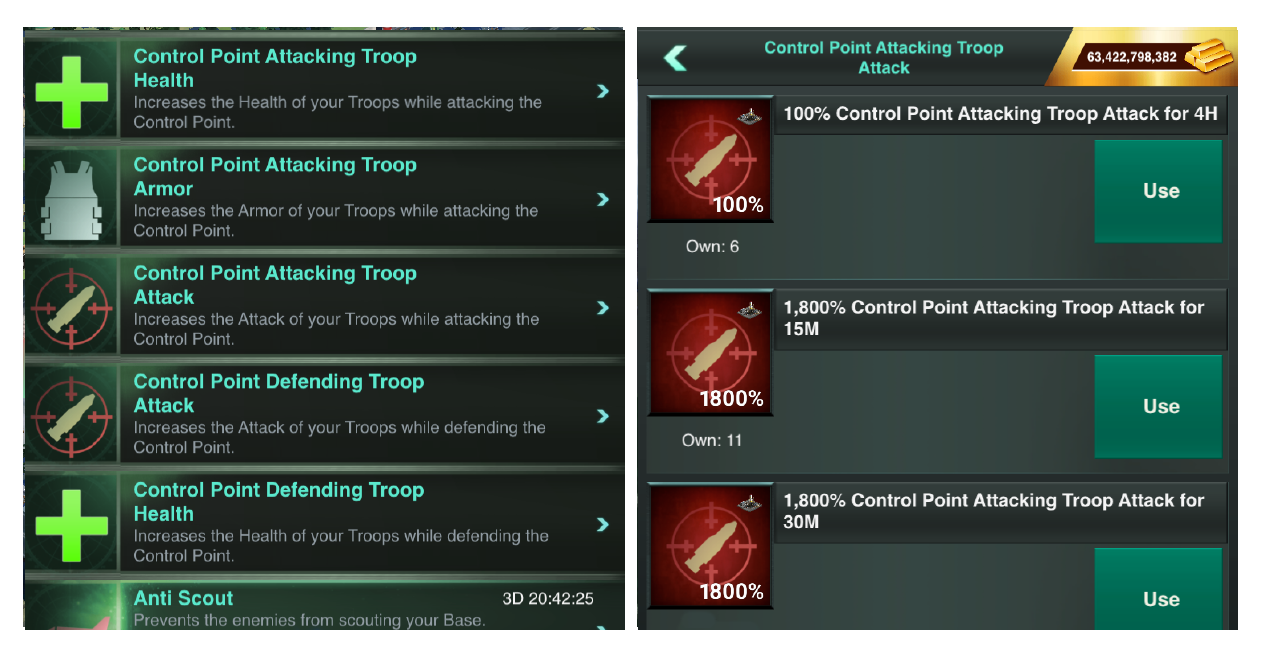Control Point attack boosts