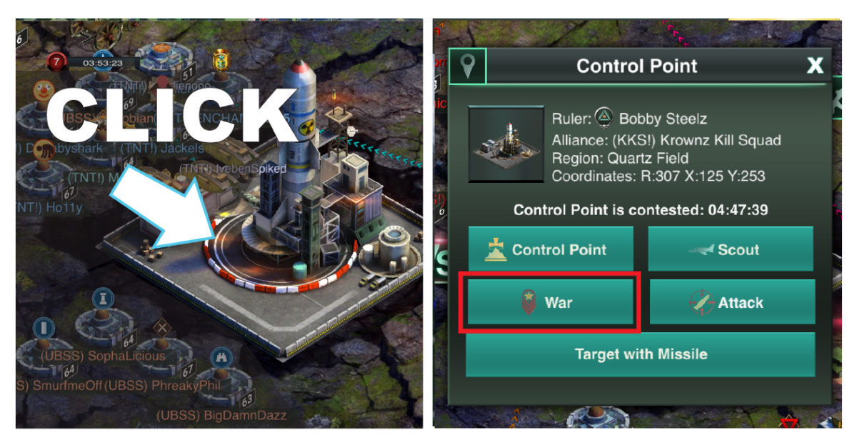 Setting a Control Point war rally